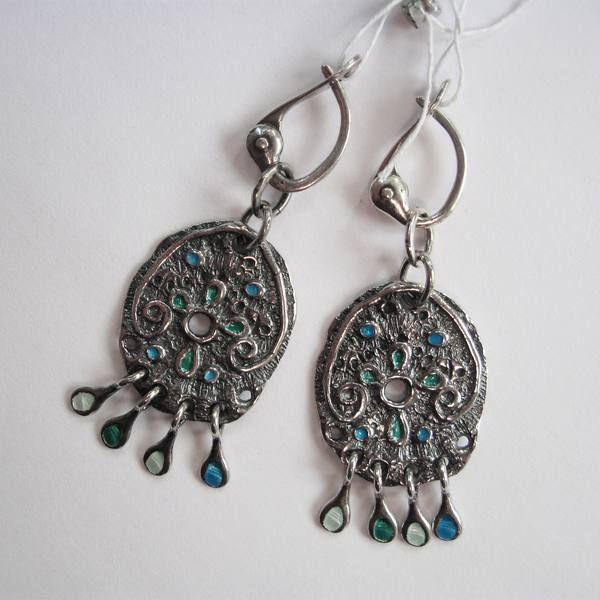 Серебряные серьги с эмалью с подвесами из коллекции Настасья