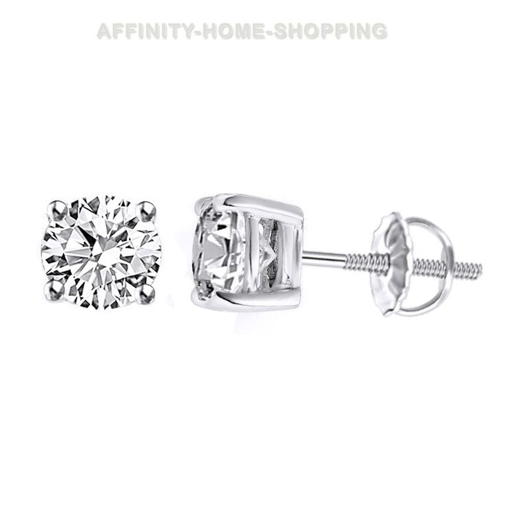 2.00 CTW Round Diamond Earrings Set in Sterling Silver #AffinityHomeShopping #Stud