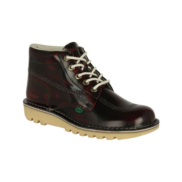 Kickers Mens Kick Hi Top Leather Boots Shine Upper Lace Up Shoes #Kickers #AnkleBoots