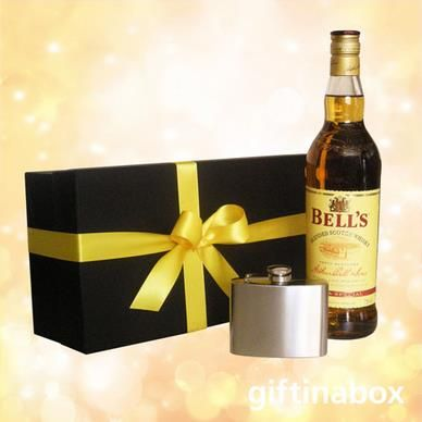 BELL'S WHISKEY & HIP FLASK  A perfect gift for that special someone!  bottle of Bells Whiskey 7oz stainless steel hip flask