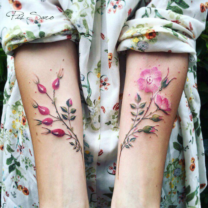 "In Rainbows ~ floral tatoos ~ Crimean artist Pis Saro takes inspiration from her travels and innate fascination with nature to create her soft and dreamlike tattoo designs. ""T"
