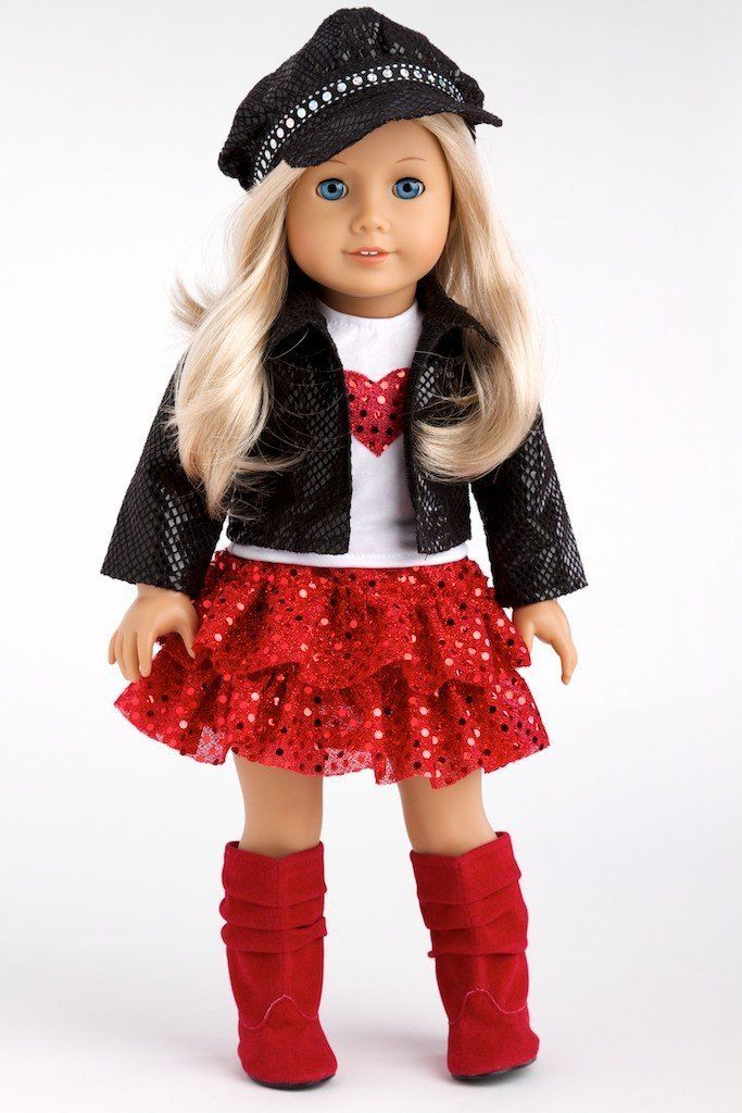 """Chic and Sassy - 5 piece outfit -Black Motorcycle Faux Leather Jacket for 18"""" American Girl Doll with Paperboy Hat, White T-shirt, Red Skirt & Boots"""