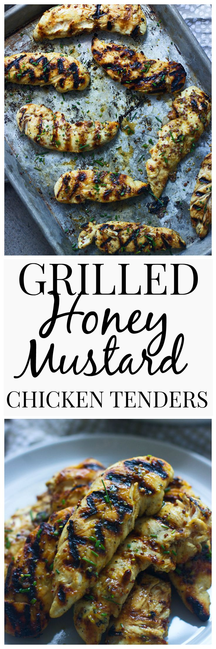 Grilled Honey Mustard Chicken Tenders - Virtually no prep, and no mess! The perfect weeknight meal.