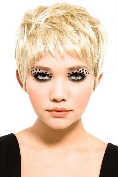 Super Hot Blonde Pixie  Cut  That eye makeup  is super fun