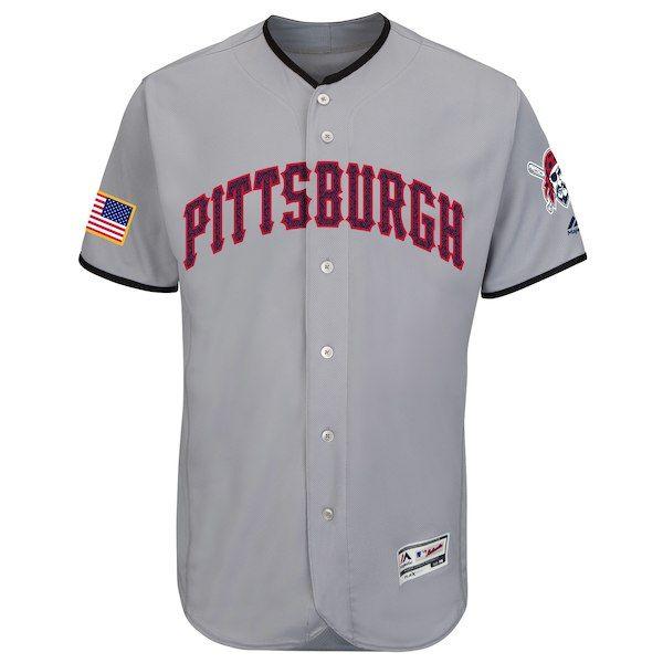 Men s Pittsburgh Pirates Majestic Gray Fashion Stars   Stripes Flex Base  Jersey 4bd8646f9