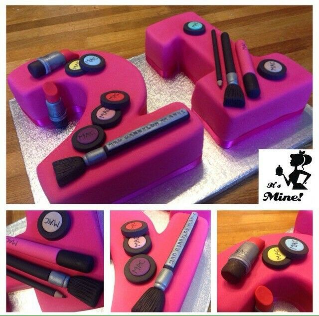 21 Number Cake Decorated With Mac Make Up 21st Birthday