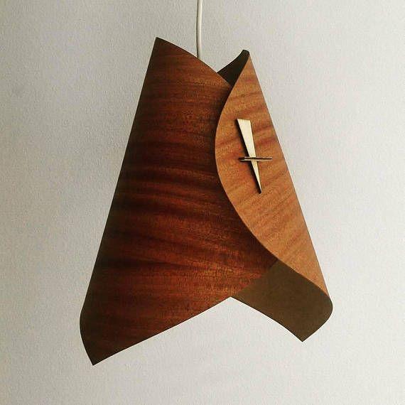 Wood Pendant Light Wood Light Fixture Wood Ceiling Light Fixture Wood Lamp Shade Modern Pendant Light in Veneer- Swoop