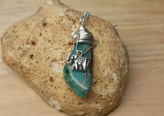 Elephant necklace. Blue sea sediment jasper by empoweredcrystals