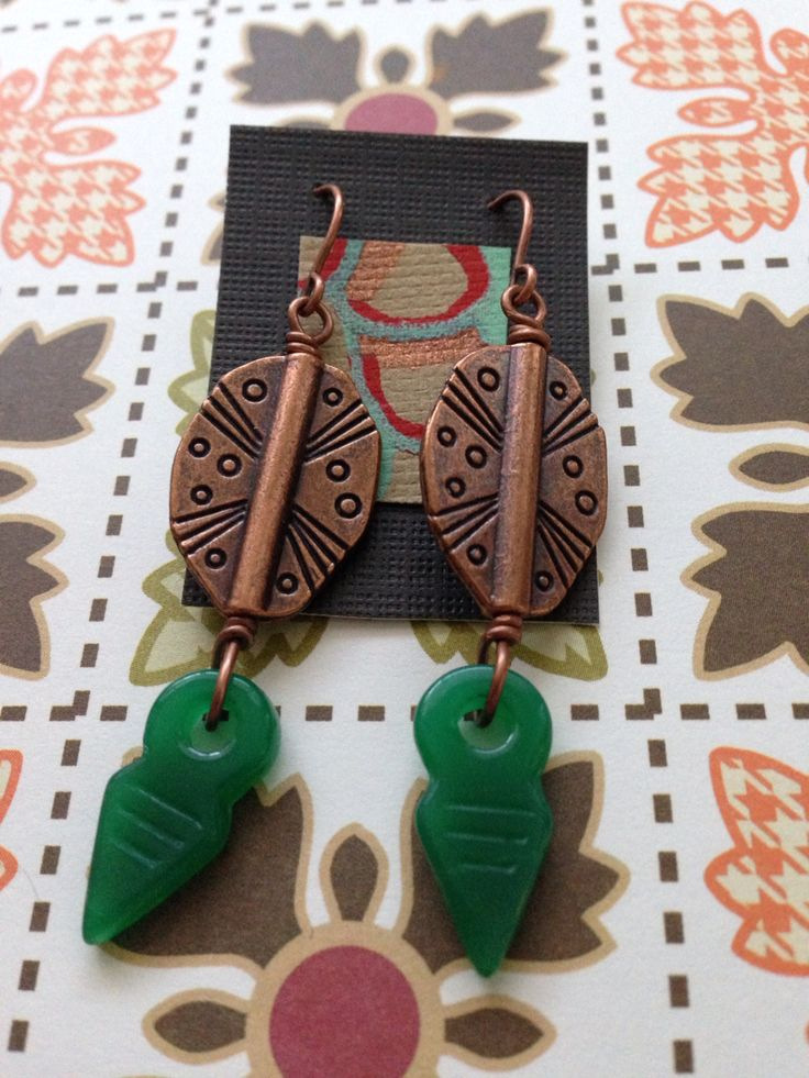 Copper and green agate earrings