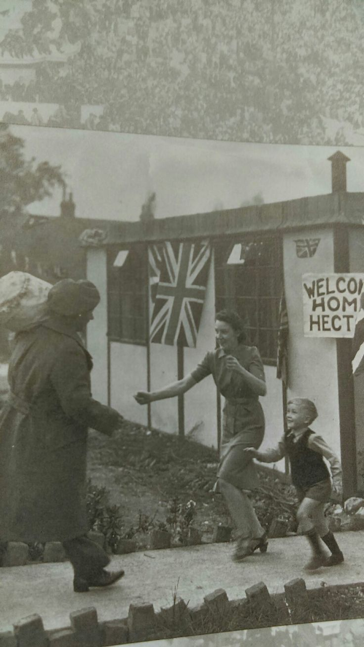 Lovely picture, man returning from the war.