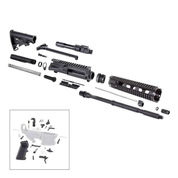 "This complete AR15 rifle kit contains all of the following:  Complete Upper Parts Kit, includes BCG  Complete Lower Parts Kit  Barrel & Free-Float Quad Rail, Gas block & Tube  Black Anodized ""80%"" Lower (Non-FFL item, must be machined)   	Upper receiver - US made  	.223/5.56 Bolt Carrier Group - US made  	Standard Charging Handle  	Ejection Port/Dust Cover Assembly  	Forward Assist Assembly  	Complete Lower Parts Kit - Trigger and Hammer US made  	16"" 5.56 Par..."