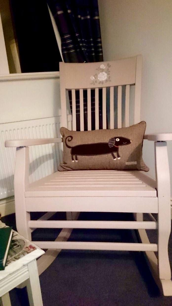 A shabby chic rocking chair. Check out shabby chic in Laois on Facebook.