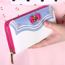 2016 New Samantha Vega Sailor Moon dames longue fermeture éclair femmes sac femmes marque en cuir kawaii bourse de portefeuille portefeuille femme(China (Mainland))