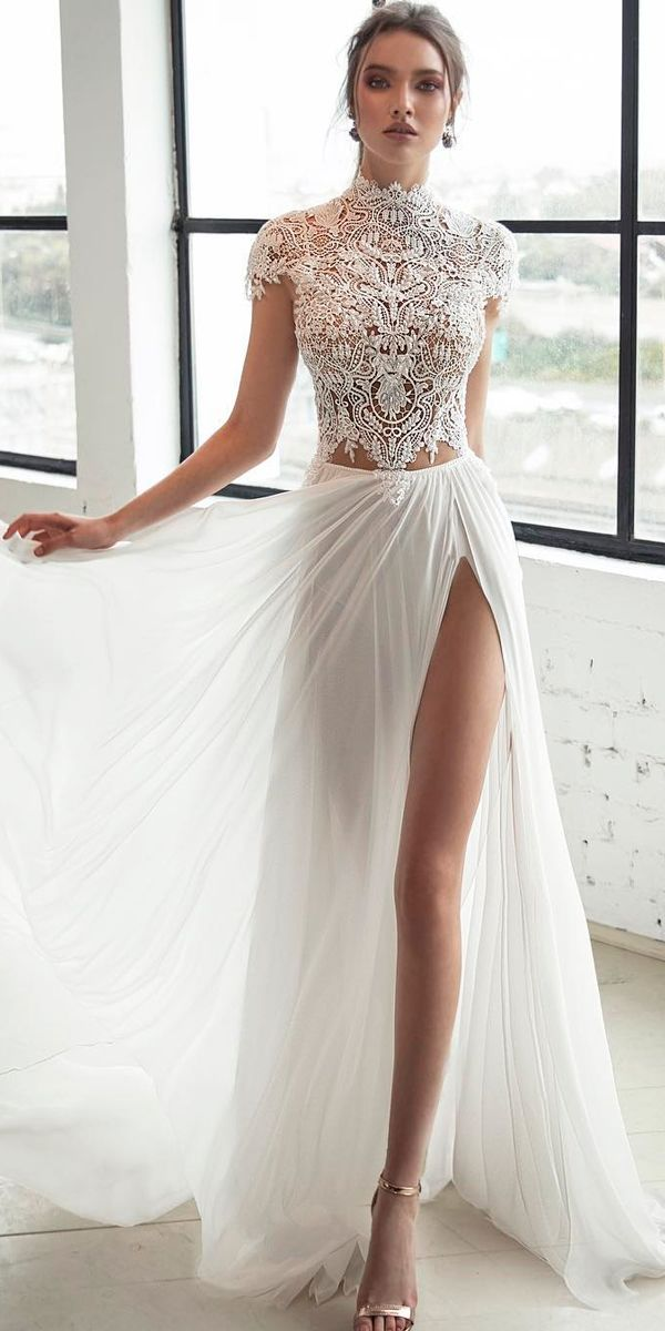 bd88b0eca6 lace bodice high neckline with short sleeves high slit sexy wedding dresses  ideas julie vino bridal