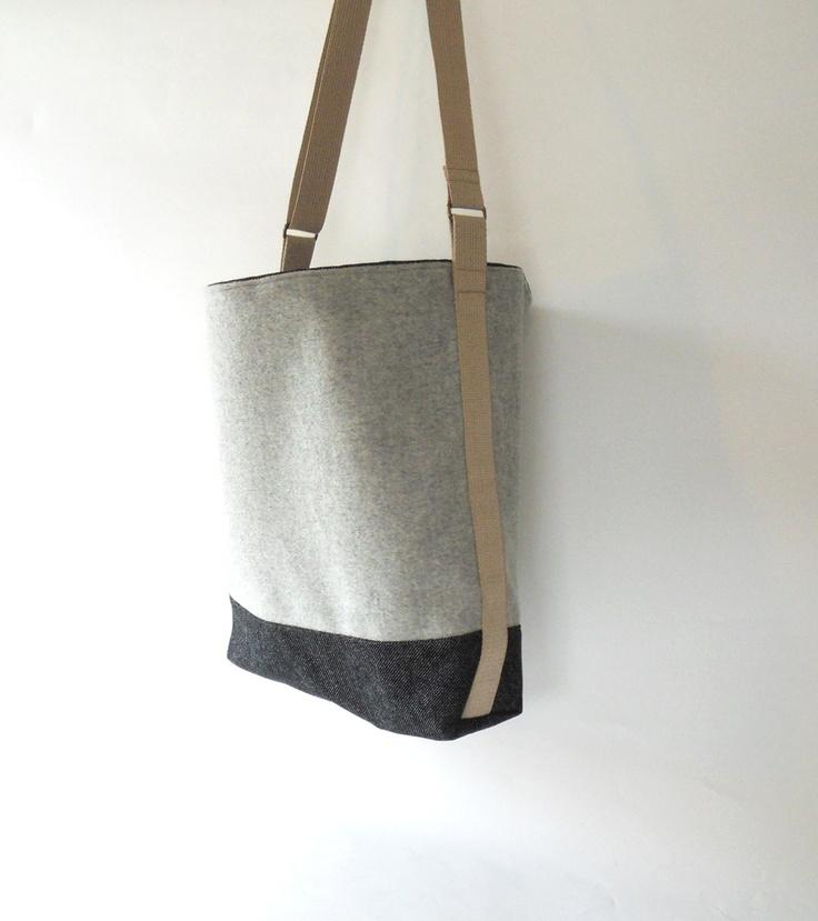 Side Strap Shoulder Bag Melange Gray Wool and Denim by BagyBag