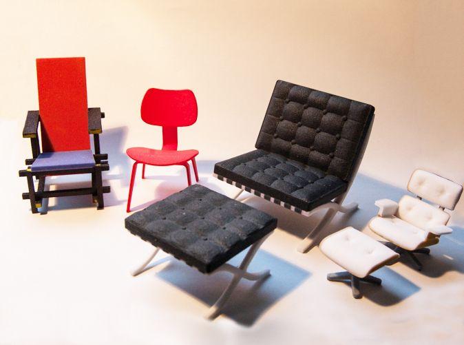 Miniaturas de algunos clásicos del diseño (sillas) • Mini Wooden Classic chairs by kspence on Shapeways