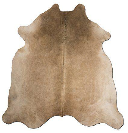 Kuhfell teppich Erdfarben Beige Rindsleder Leder Stier Cow Skin Rug Tapis Peau de Vache (221 cm x 194 cm)