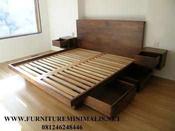 Tempat Tidur Minimalis Laci Kontemporer Kayu Jati | Kamar Tidur Utama - Furniture Minimalis Jepara