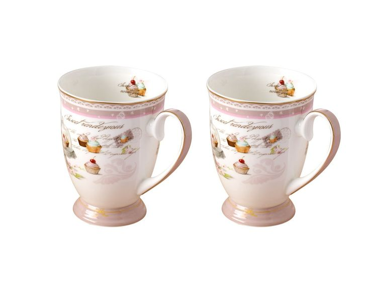 amazoncom jsaron china pink porcelain coffee mug set of 2 tea
