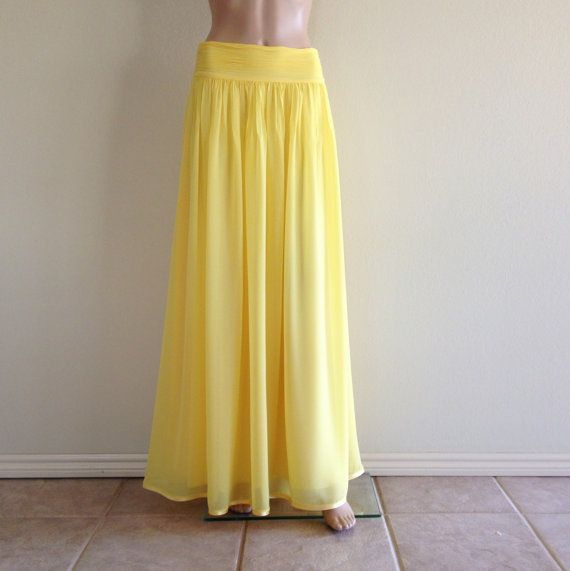 Maxi skirts are great you can dress up or down and out the door in a jiffy! Etsy listing at https://www.etsy.com/listing/215693348/yellow-maxi-skirt-long-bridesmaid-skirt
