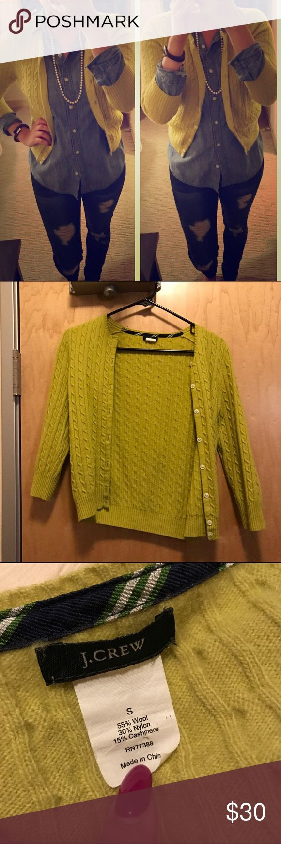 J. Crew Chartreuse Cardigan Adorable button up cardigan from J. Crew, gently used/worn just a handful of times. Very soft and beautiful color! J. Crew Sweaters Cardigans