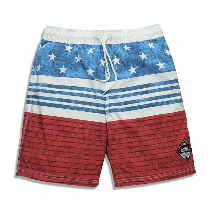 2016 NEW Men's USA American Flag Vintage Style Built-In Cell Phone Pocket Quick Dry Beach Surf Shorts w/Drawstring S-3XL