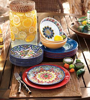 Mexican Inspired Outdoor Plates. I Have The Red Dinner Plate And The  Multi Colored