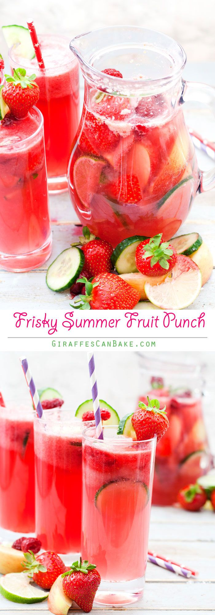 Frisky Summer Punch - a delicious fruit punch made with cucumber and apple bison grass vodka, prosecco and fruit. The perfect summer drink for parties, BBQ's and more. It's so quick and easy to make, you'll be making this punch all summer long!