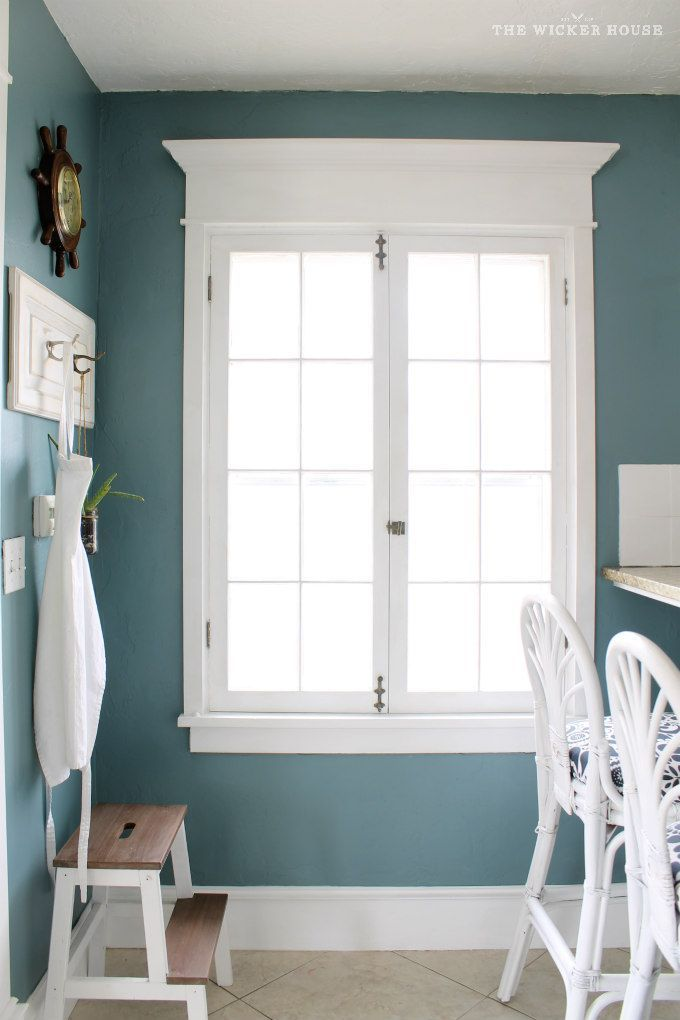 Wall color is Aegean Teal from Benjamin Moore. Beautiful teal.  The Wicker House