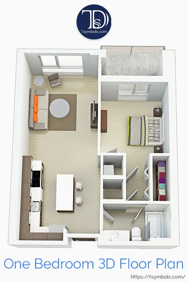 Modern One Bedroom 3d Floor Plans Tsymbals Design In 2020 Sims House Design Apartment Design House Design