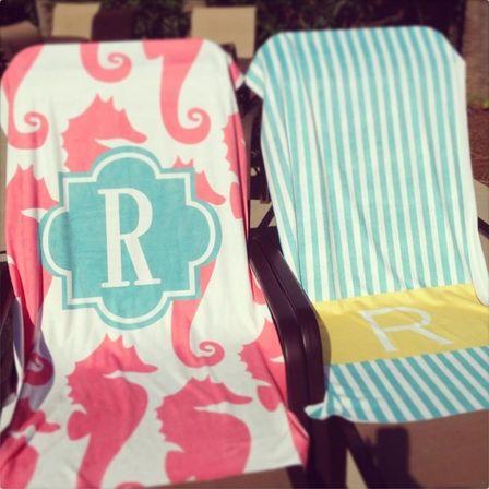 Personalized Beach Towel in Multi Ikat Chevron