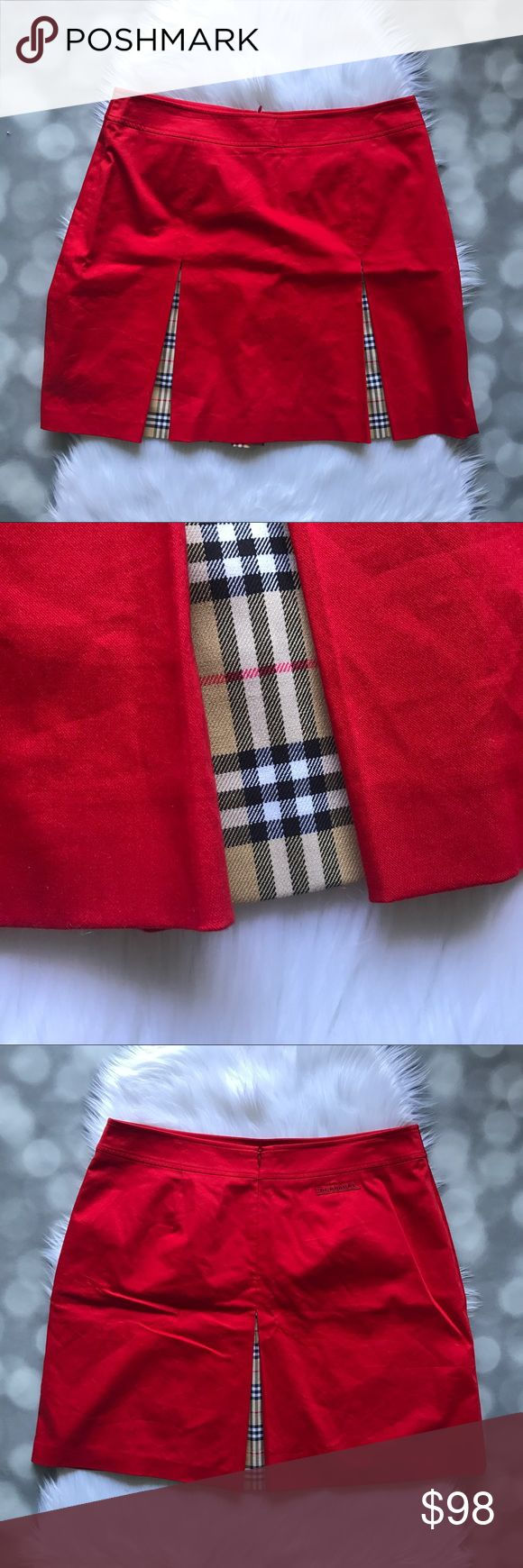 """Burberry Golf Red Pleated Skirt Gorgeous pleated a-line skirt by Burberry Golf. Bright red with pleats and the classic Burberry print peeking through. Zips up the back. Laying flat, waist measures 17"""" and length is 18.5"""". EUC from a smoke free home!   ⭐️no trades⭐️ ⭐️I'm open to offers and I ALWAYS send a counteroffer⭐️ ⭐️bundle and save 10% off two or more items⭐️ Burberry Skirts A-Line or Full"""