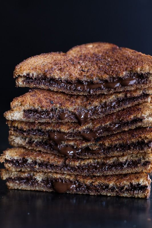 five-minute grilled cinnamon toast with chocolate