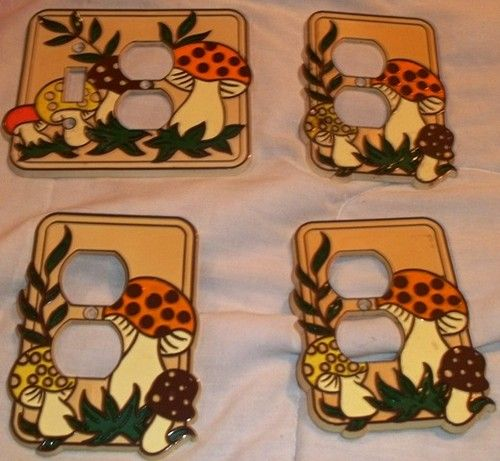 Authenic 1978 Merry Mushroom Wall Switch Outlet Covers by Sears Retro Decor' | eBay