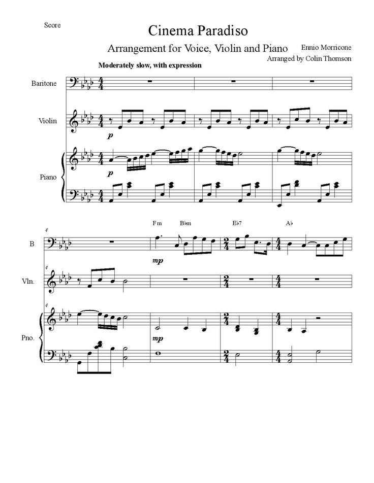 "Free Sheet Music Josh Groban ""Cinema Paradiso"" by Ennio Morricone. Arrangement for Voice, Violin, Piano.  http://sightreadingacademy.com/josh-groban-cinema-paradiso-by-ennio-morricone-arrangement-for-voice-violin-and-piano-free-sheet-music/"