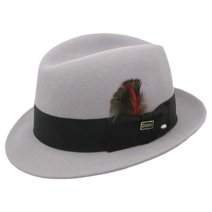 """Dobbs Randall - Wool Fedora Hat $93.98   From Dobbs' Fur Felt Fashion collections comes the Randall wool fedora hat. This hat is a blend of wool felt with a great look showing a 1 7/8"""" brim and a center dent crown. This hat has a completed look with a thick grosgrain hat band that has a bow, feather and the Dobbs hat pin on the side."""