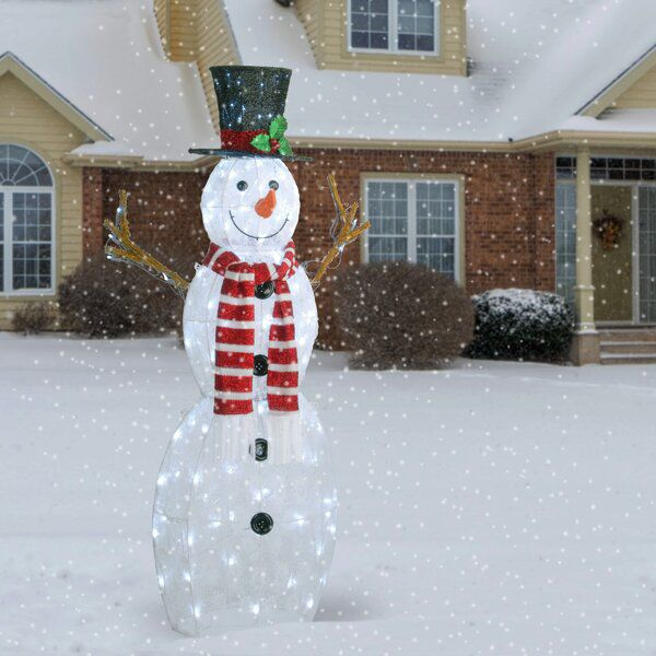Snowman With Mistletoe Top Hat Scarf And Buttons Lighted Display Snowman Outdoor Decorations Outdoor Christmas Decorations Diy Christmas Decorations Easy