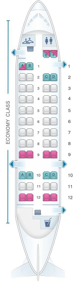 Seat Map Qantas Airways Bombardier Dash 8 Q300