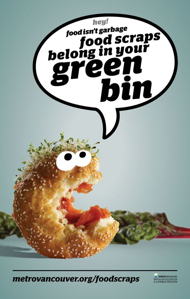 Food isn't garbage. A organics recycling advertising campaign for Metro Vancouver featuring talking food and humour to reduce waste.  |  Ion Brand Design #inspiration #green #campaign #advertising