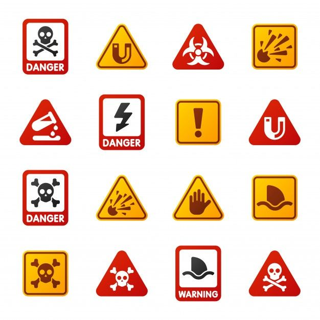 Danger Warning Attention Sign Icons Powerpoint Template Free Dangerous Icon