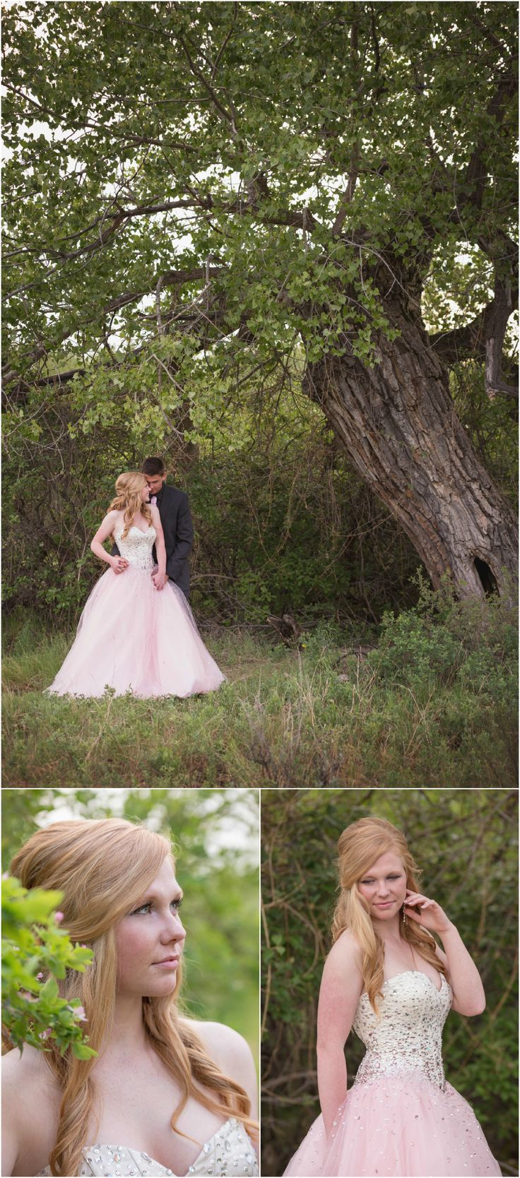 High School Graduation 2015 Highlights | Medicine Hat Photography.  Photo ideas for grad student in pink grad dress with crystals for prom with her date in the trees. Taken by Woods Photography (CANADA).  #graduation #prom #photography