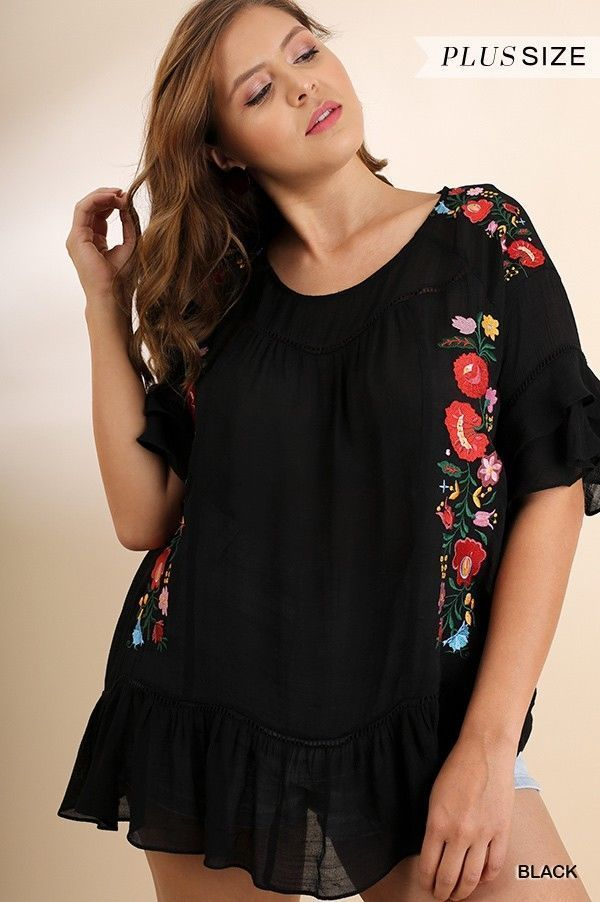 63b8567d839 UMGEE Floral Embroidered Ruffled Layered Bell Sleeve Top Plus Size xl 1x 2X   umgee  KnitTop  Casual