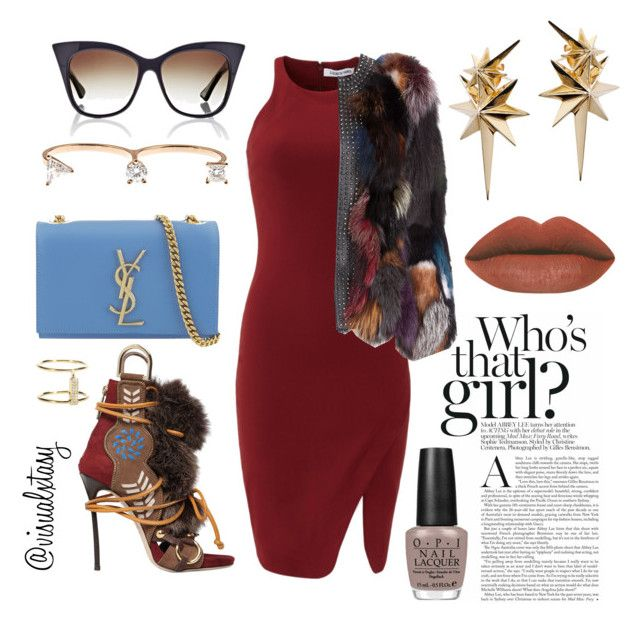 """""""Rich Bish"""" by visualxtasy on Polyvore featuring Elizabeth and James, Dsquared2, Dita, Yves Saint Laurent, Delfina Delettrez, Ludevine, OPI, Ileana Makri, women's clothing and women's fashion"""