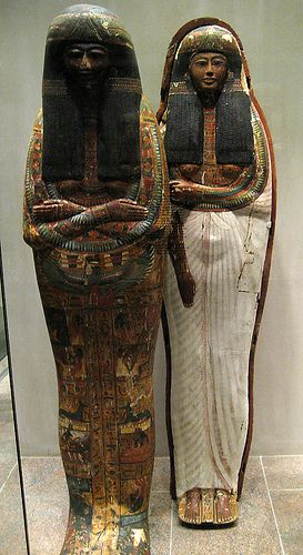 I find these mummy cases really spooky! Egyptian Art