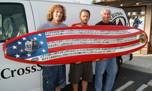 Jay and Jeff Grygera (Iron Cross Surfboards) and Jerry Anderson (Headline Graphics) who produced a commemorative surfboard for Brennan Savage (FDNY Retirees of San Diego 19th Division) to honor the 343 firefighters lost on 9/11 at the World Trade Center. Read the whole story here http://headlinegraphics.com/component/content/article/150-surfboard-commemorates-9-11