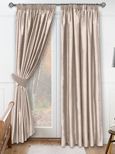 This curtain is a real treat combining neutral colour with lots of silk-like character, think slubs and discrete lustre. The delicate colour is light brown but with plenty of silvery grey tones too. #faux #silk #curtain