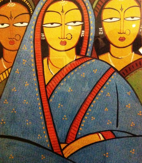 Jamini Roy's 'Three Women', Oil On Canvas Painting! #artfromindia #buyingartonline #Art #Paintings #IndianArt #Women #Ladies