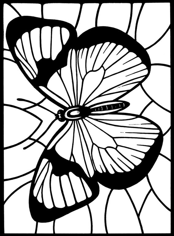 : Butterflies Stained Glass Coloring Book: Deluxe Edition with 48 Stained Glass Sheets