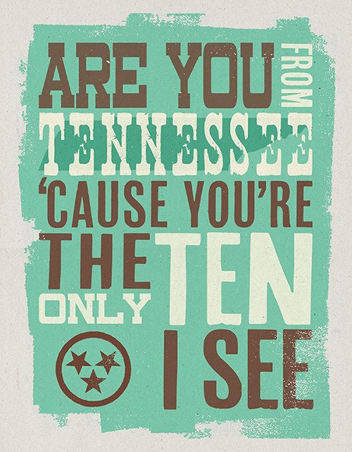 Are you from Tennessee? 'cause you're the only ten I see ;) Best pick up line ever...Martita...this one's for you! Lol