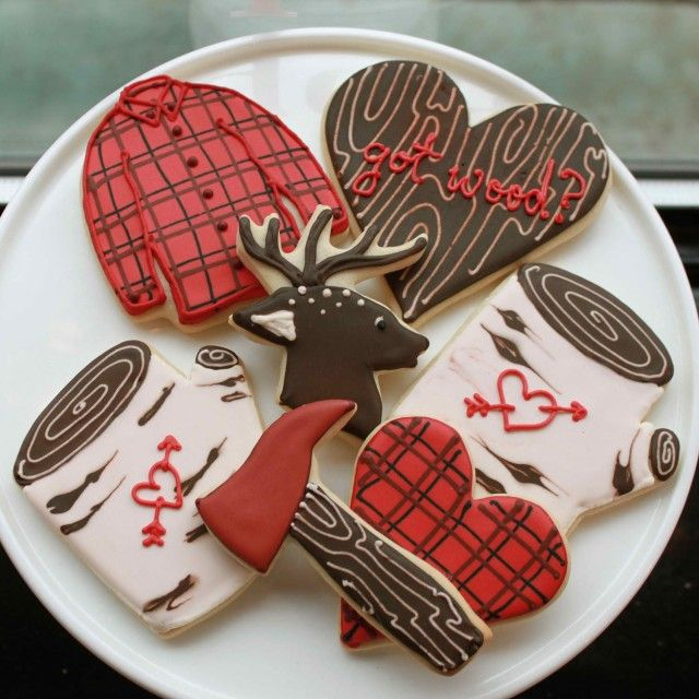 """""""Manly"""" cookies! Although IMHO, my husband would laugh hysterically at these. Besides chopping wood when we're camping none of this would appeal to him. Maybe I should make motorcycle cookies!"""